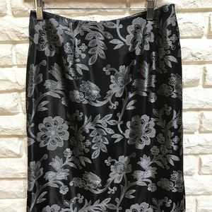Lilly Pulitzer black silver brocade pencil skirt 4